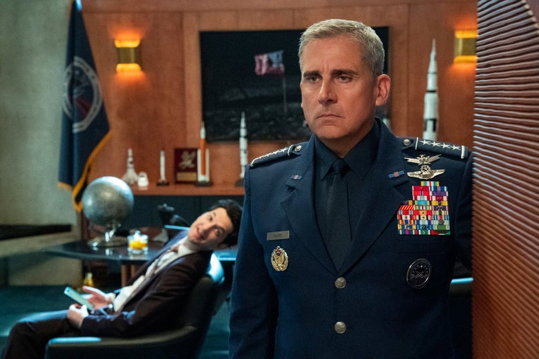 Steve Carell, in military uniform, stares glumly into the distance.