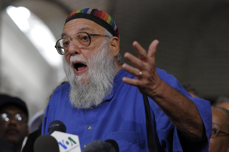Rabbi Arthur Waskow of the Shalom Center (L) joins representatives of over 40 groups as they express support for allowing a Muslim cultural center to be built near ground zero during a news conference in Lower Manhattan on August 25, 2010.