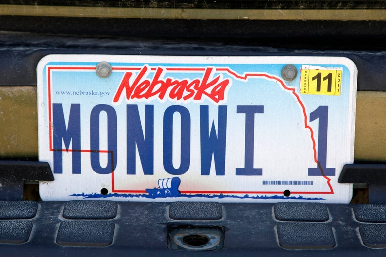 A Nebraska state license plate seen on April 28, 2011.