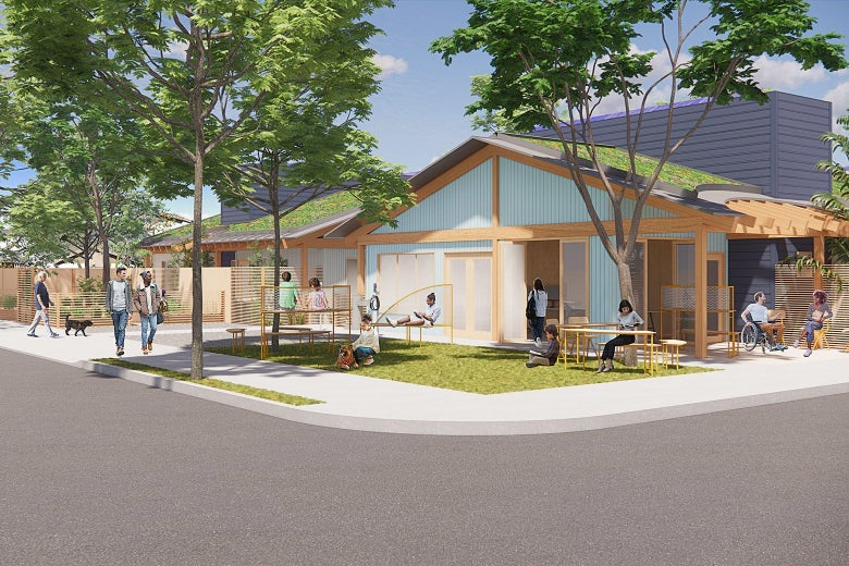 The winning proposal for corner lots shows a mixed-use project, bringing commercial or community space into a residential neighborhood.