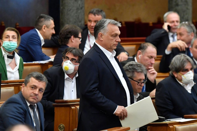 Viktor Orban walks in front of seated members of the Hungarian Parliament, some wearing masks.