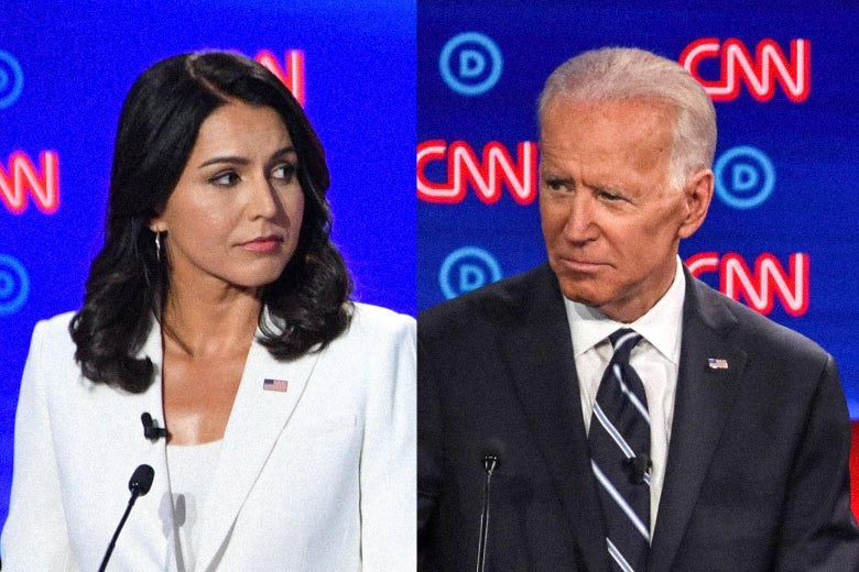 Democratic presidential hopefuls Tulsi Gabbard and Joe Biden.
