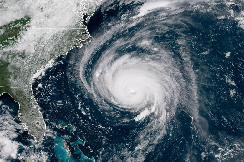 A satellite image of the hurricane off the East Coast