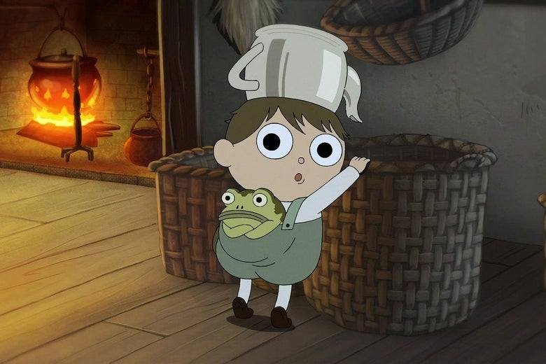 A wide-eyed cartoon boy leans on a basket, looking over his shoulder. There is an upside-down teapot on his head and a frog sticking out of the back of his overalls with its arms crossed.