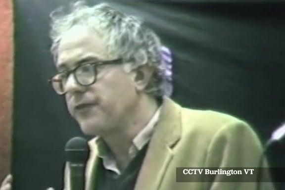 Screenshot of video of Bernie Sanders speaking in 1985.