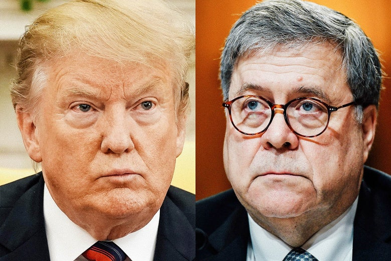President Donald Trump and Attorney General William Barr.