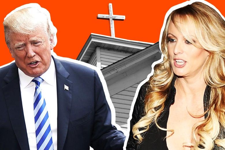 Donald Trump, Stormy Daniels, and a church.