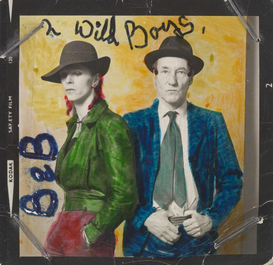 David Bowie with William S. Burroughs, February 1974 with colour by David Bowie.