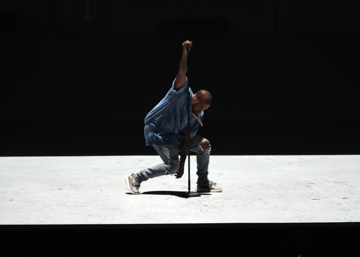 Kanye West performs during the closing ceremony for the 2015 Pan American Games in Toronto, Canada.