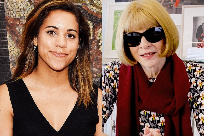 Side-by-side images of Alexi McCammond and Anna Wintour.