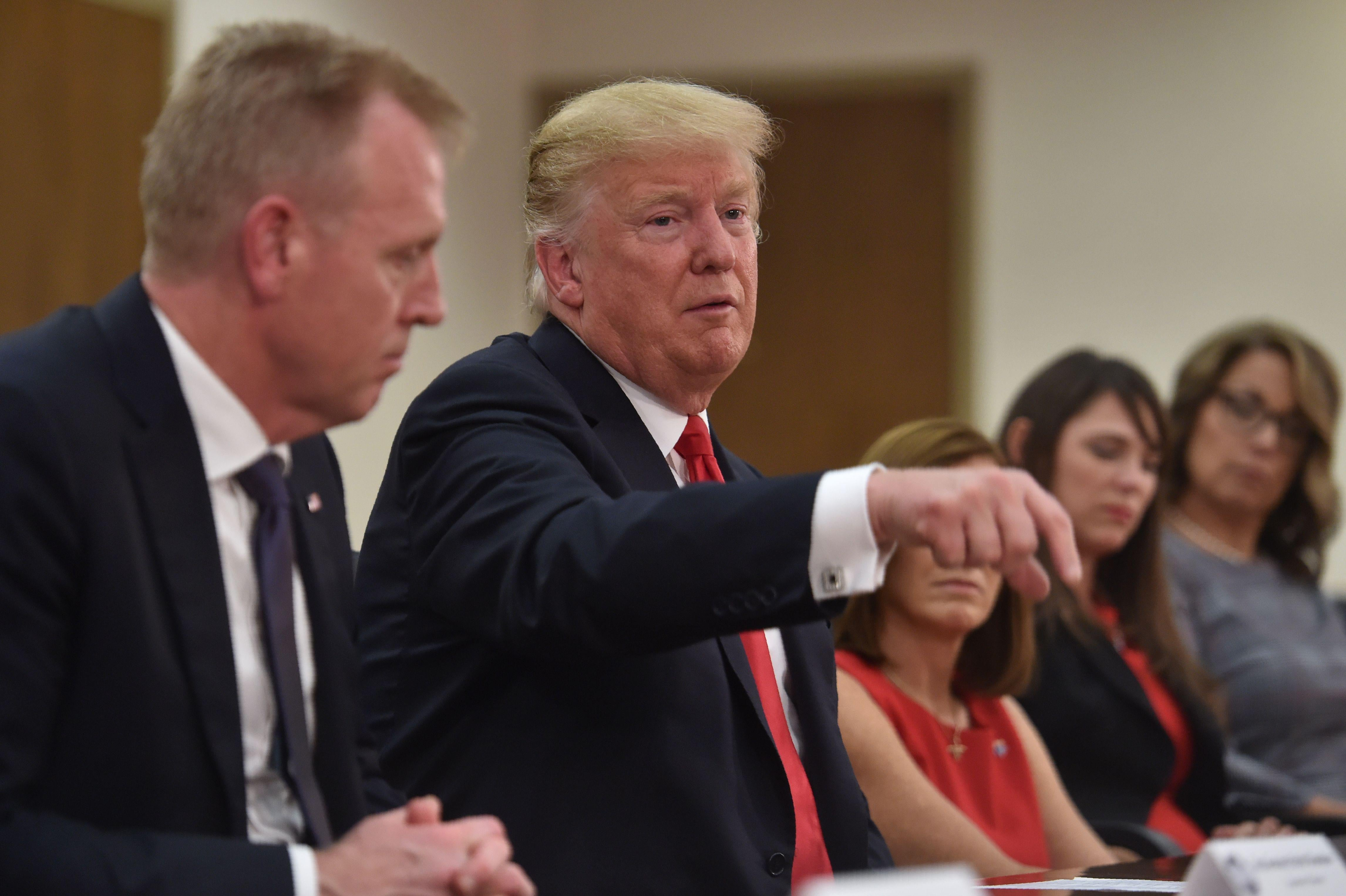 President Donald Trump speaks during a defense roundtable at Luke Air Force Base in Phoenix , Arizona on October 19, 2018.