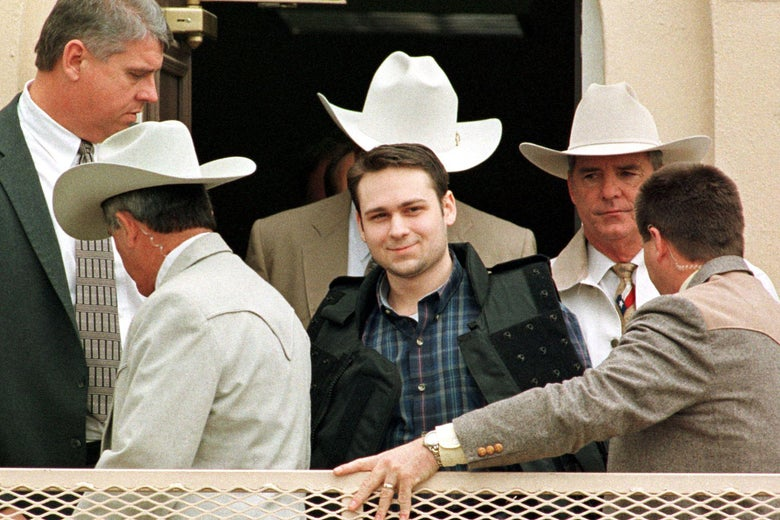 John William King is led from the Jasper County Courthouse in Feb. 1999 after a jury sentenced him to death.
