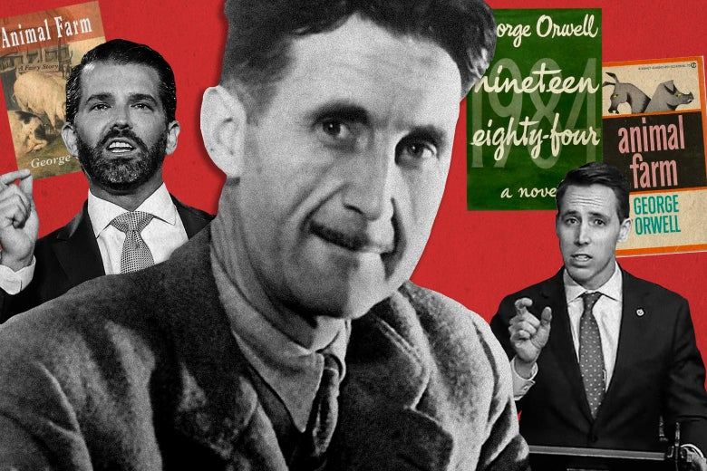 Photo collage of George Orwell, Don Jr., Josh Hawley, the 1984 and Animal Farm book covers.