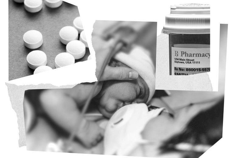 Collage of mom with newborn in a hospital room, pills, and a prescription pill container