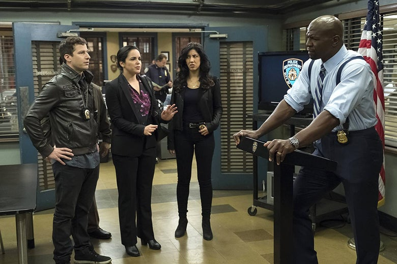 Terry Crews gives a speech at the precinct while the others look on