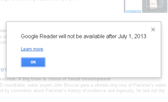 Google Reader no longer available notice