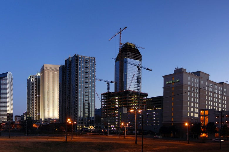 The skyline of Charlotte, North Carolina.
