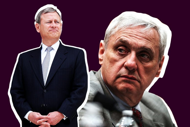 Photo illustration: Cutouts of Supreme Court Chief Justice John Roberts and retired Judge Alex Kozinski against a purple background. Photo illustration by Slate. Photo by Justin Sullivan/Getty Images and Win McNamee/Getty Images.