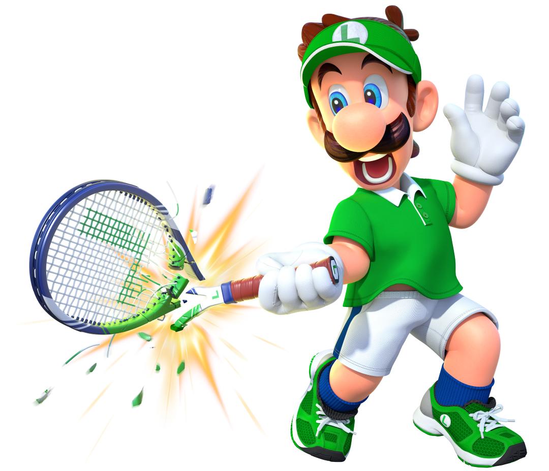 Luigi, of Mario fame, playing tennis.