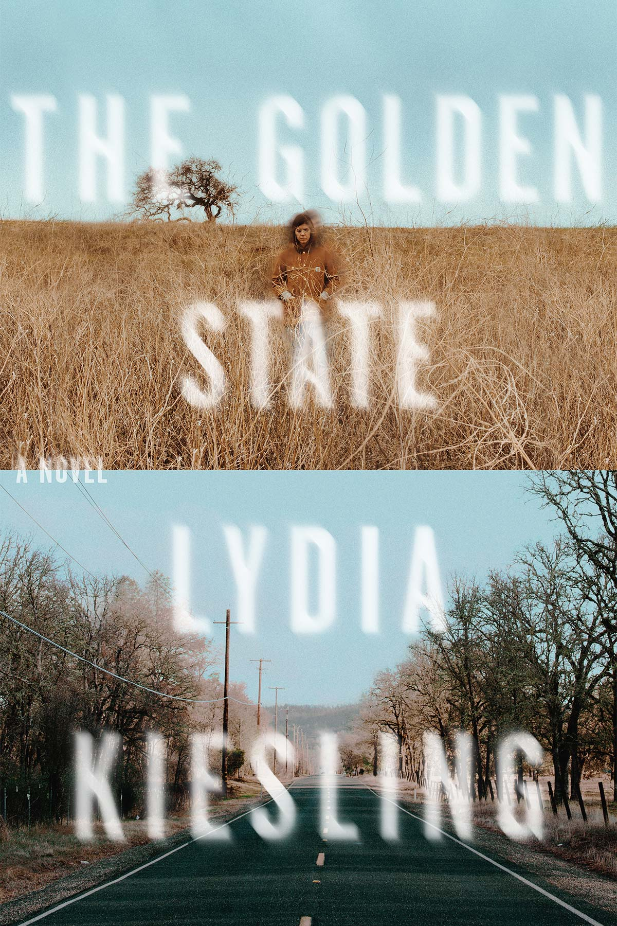 Cover for The Golden State: The top half depicts a mildly blurry person standing in a field uninterrupted but for a lone tree in the far distance. The bottom depicts a normal two-way, four-lane road lined with power lines and trees.