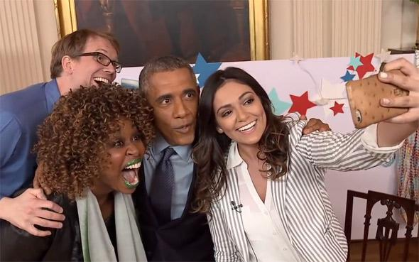 President Obama selfie with YouTubers