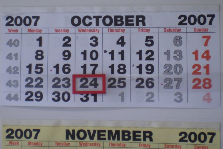 A wall calendar.