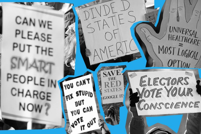 """Protest signs criticizing the GOP with phrases such as """"Can we please put the smart people in charge now?"""""""