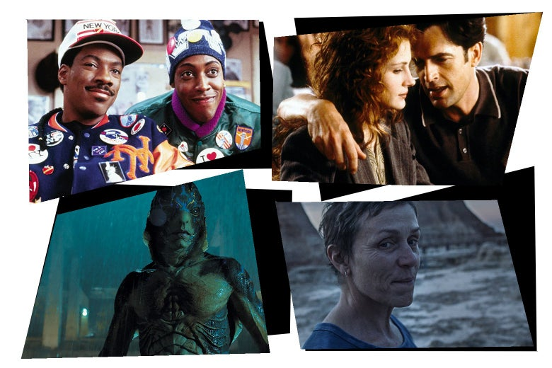 Stills from each of the movies in a mosaic art style: Eddie Murphy and Arsenio Hall smile at the camera; Dermot Mulroney talks to Julia Roberts with his arm around her shoulder; An amphibious-looking creature looks at the camera; Frances McDormand looks off into the distance.