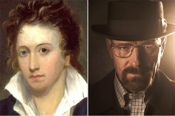 Percy Bysshe Shelley, by Alfred Clint, 1819, left. Bryan Cranston as Walter White, right.