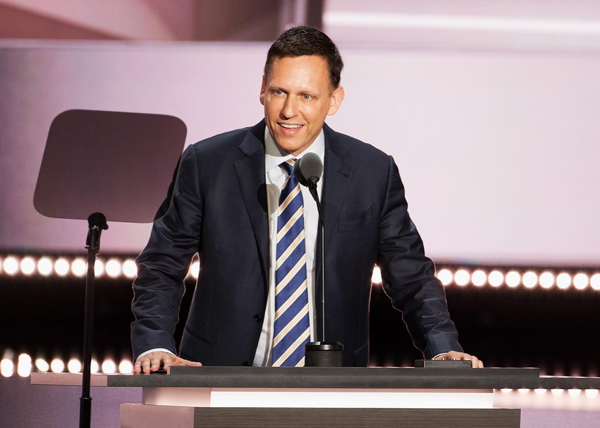 Peter Thiel speaks on the fourth day of the Republican National Convention on July 21 2016 at the Quicken Loans Arena in Cleveland, Ohio.