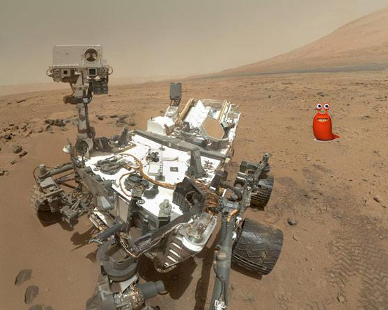 Curiosity rover on Mars with a little friend