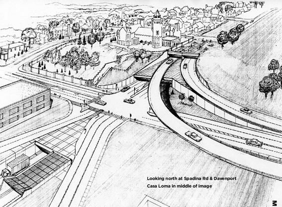 Rendering looking north on Spadina Road and Davenport, 1970. Courtesy of City of Toronto Archives, Series 1143, File 3143, Item M.