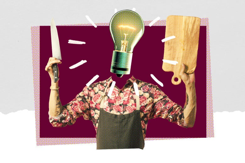 A person in an apron holding a chef's knife and a cutting board with a lightbulb for a head.