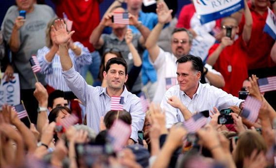 Republican presidential candidate and former Massachusetts Gov. Mitt Romney and vice presidential candidate and Wisconsin native Rep. Paul Ryan.