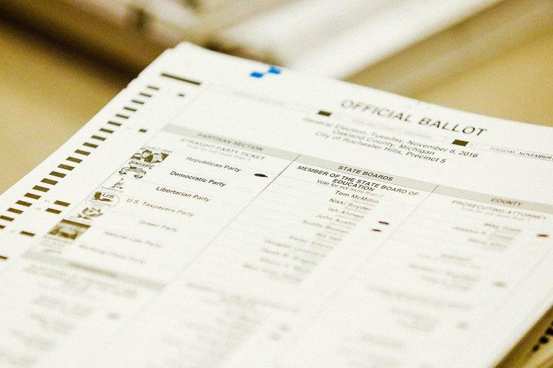 A ballot sheet