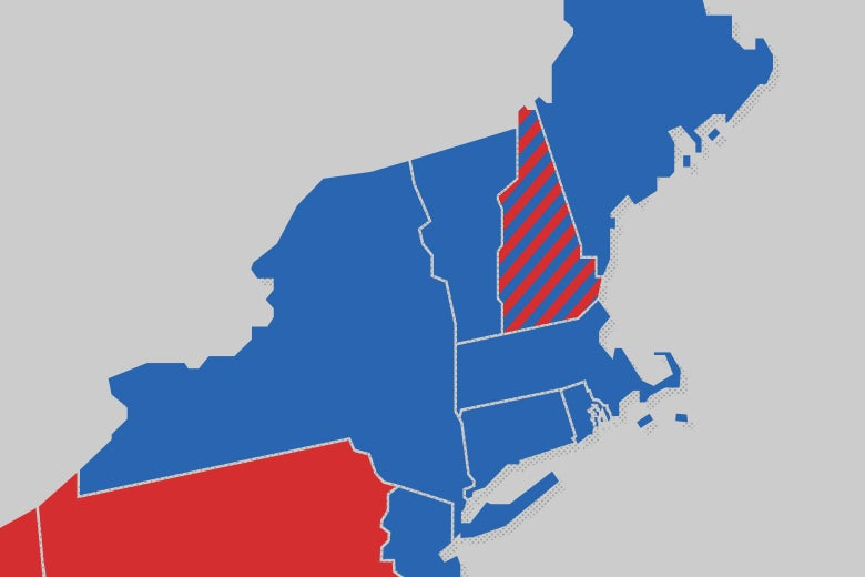 A map of the Northeast U.S. with states colored in red and blue. New Hampshire is striped red and blue.