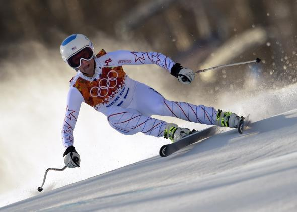 U.S. skier Julia Mancuso competes in the women's Alpine skiing event on Feb. 12, 2014, during the Sochi Winter Olympics.