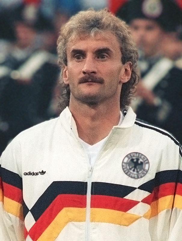 West German forward Rudi Völler in Rome at the World Cup final against Argentina, July 1990.