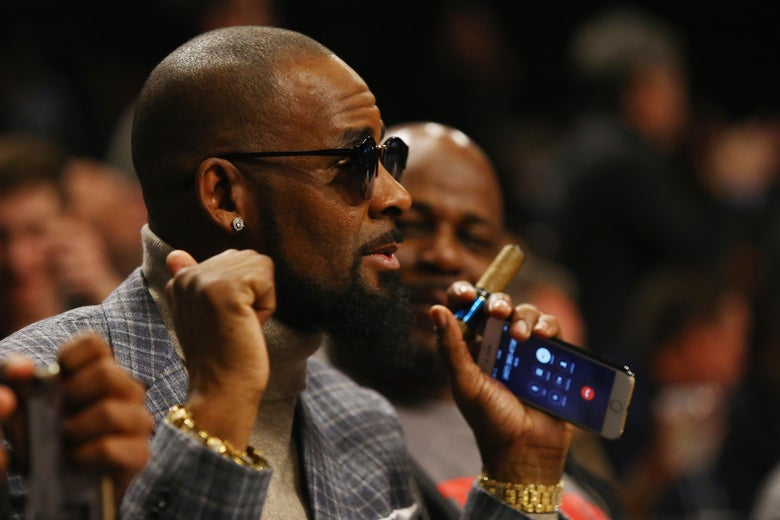 Singer R. Kelly attends the Brooklyn Nets vs the Atlanta Hawks  at The Barclays Center on November 17, 2015 in New York City.