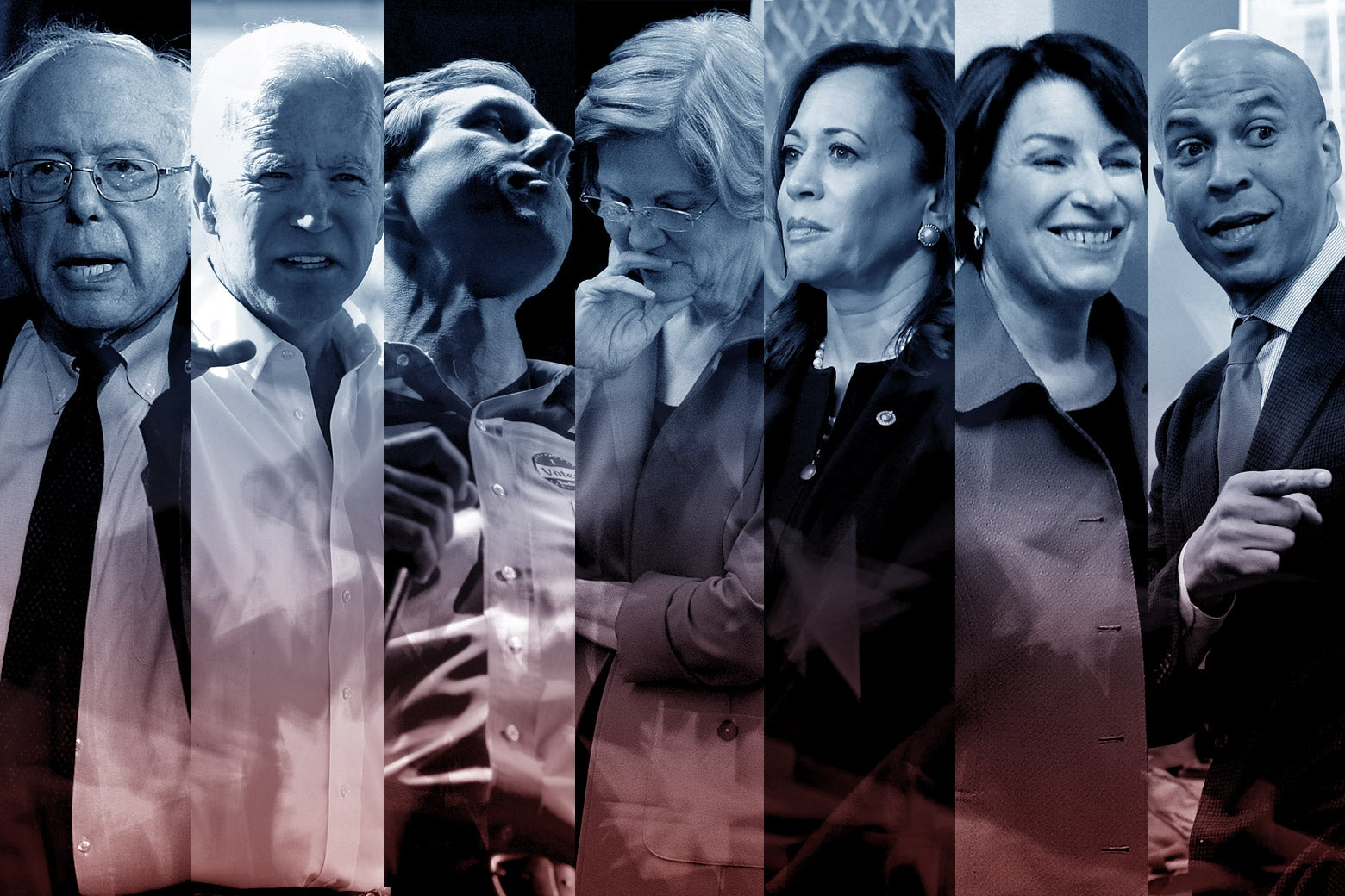 Bernie Sanders, Joe Biden, Beto O'Rourke, Elizabeth Warren, Kamala Harris, Amy Klobuchar, and Cory Booker.