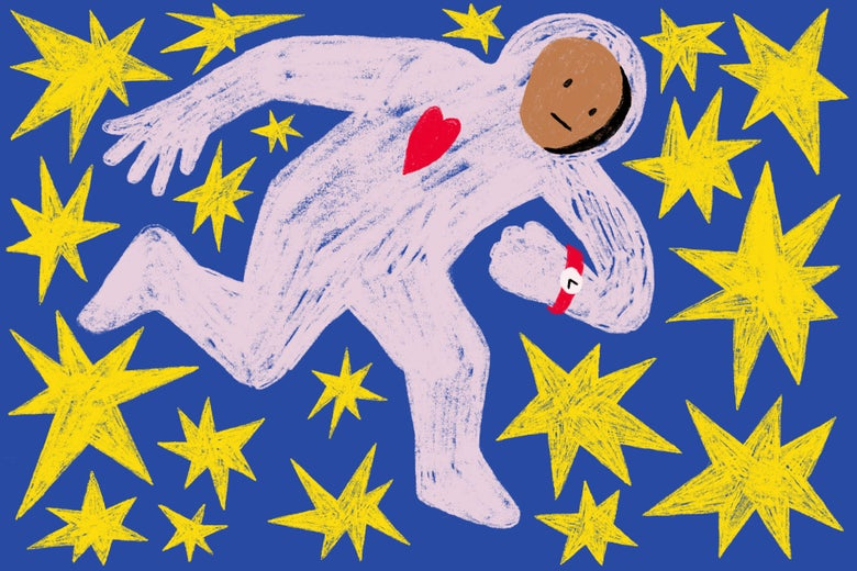 Person in a spacesuit looking at a watch while surrounded by stars, inspired by Matisse's Icarus.