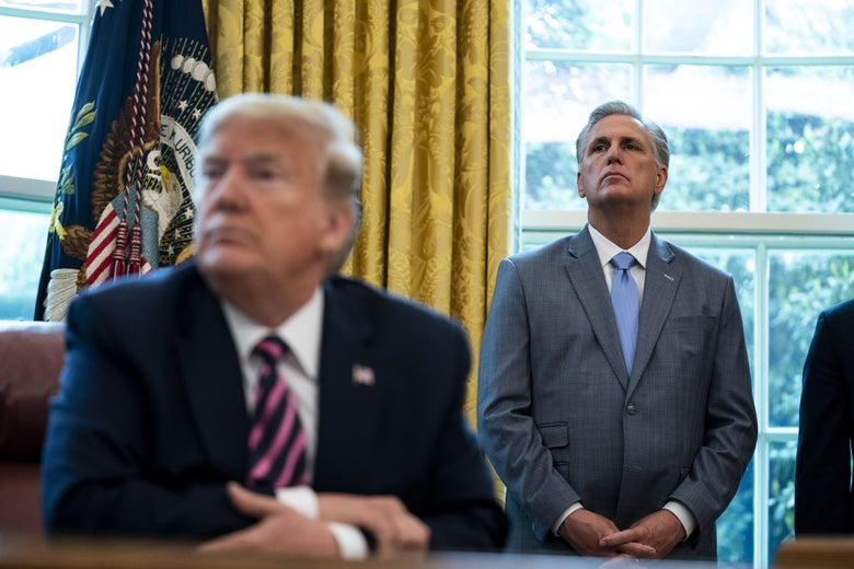 House Minority Leader Rep. Kevin McCarthy (R-CA) and then-President Donald Trump attend a signing ceremony in the Oval Office of the White House on April 24, 2020 in Washington, D.C.