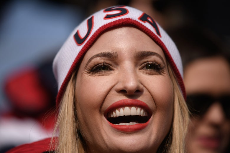 US President Donald Trump's daughter and senior White House adviser Ivanka Trump watches the men's four-man bobsleigh event of the Pyeongchang Winter Olympic games at the Olympic Sliding Centre in Pyeongchang on February 25, 2018.  / AFP PHOTO / Ed JONES        (Photo credit should read ED JONES/AFP/Getty Images)