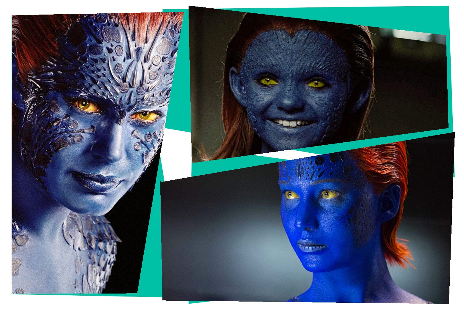 Jennifer Lawrence, Rebecca Romijn, and Morgan Lily wearing red wigs as Mystique.