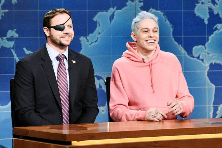 Dan Crenshaw and Pete Davidson on Saturday Night Live.