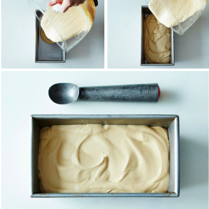 A series of images: a hand pours a white mixture into a rectangular pan; the mixture covering the bottom of the pan; a pan full of the liquid, with peaks on top.