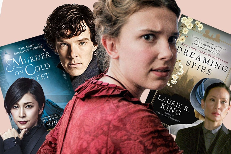 Collage of Millie Bobby Brown in Enola Holmes, Benedict Cumberbatch in Sherlock, Lucy Liu in Elementary, Yūko Takeuchi in Miss Sherlock, and the book covers of Murder on Cold Street and Dreaming Spies