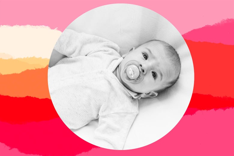 Photo illustration of a baby lying face-up in a crib, with a pacifier, staring at the camera.