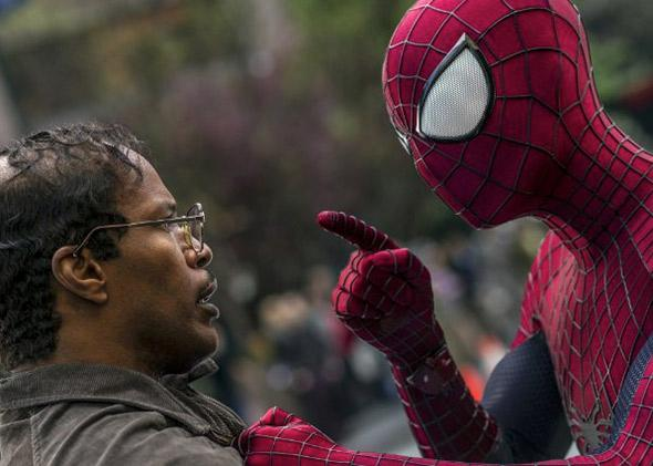 Jamie Foxx and Andrew Garfield in The Amazing Spider-Man 2 (2014).