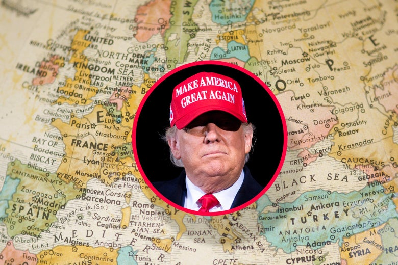 Trump wearing a MAGA hat in a circle superimposed on a globe